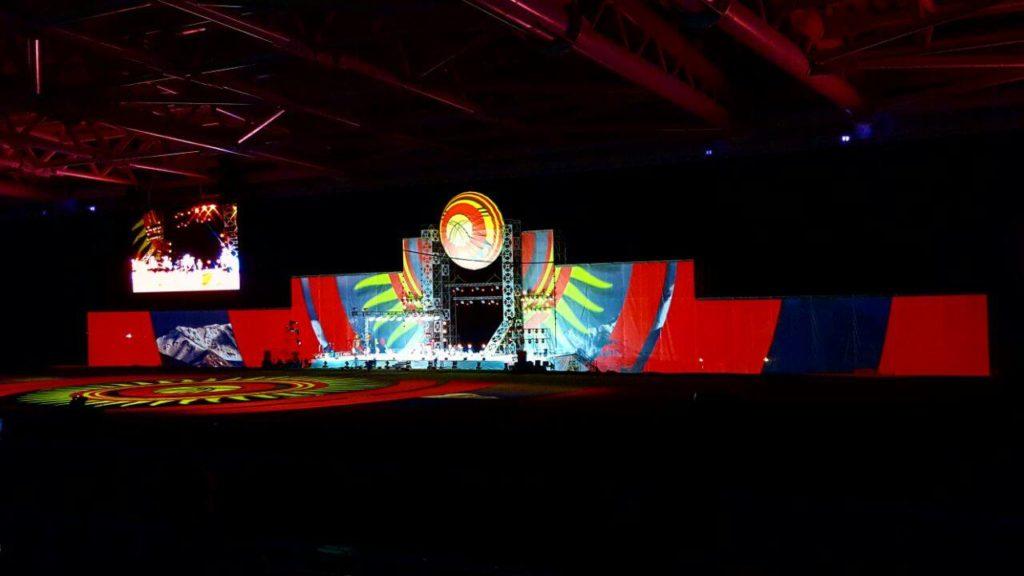 L'hippodorme de Tcholponata illuminé lors de la cérémonie d'ouverture.