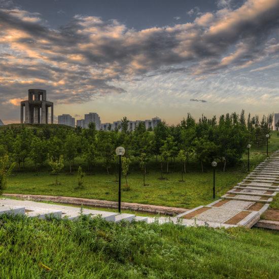 Astana Park Kasachstan Sonnenuntergang