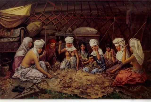 Kasachinnen Schlagen die Wolle Chludow