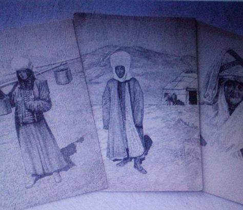 Skizzen Nationale Kostüme Kirgistan