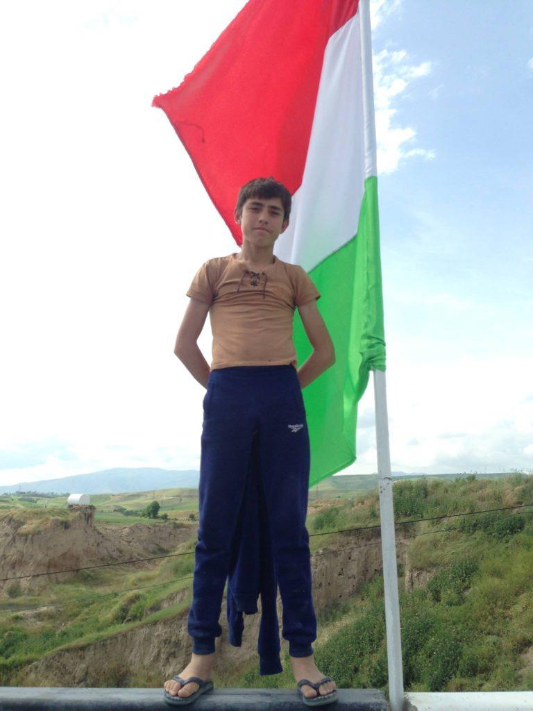 Menschen Zentralasiens Tadschikistan Beeren Sammeln Flagge