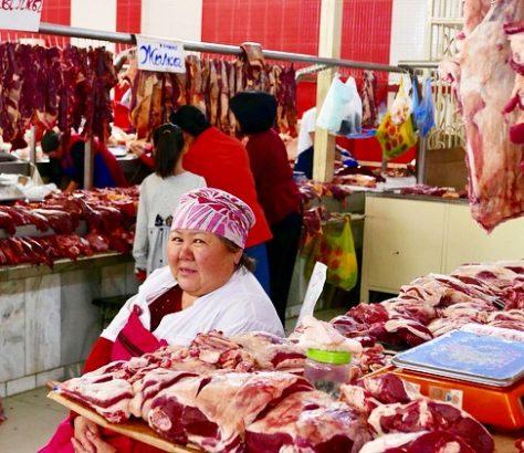 Basar, Kirgisistan, Zentralasien, markt, Fleisch, Metzger