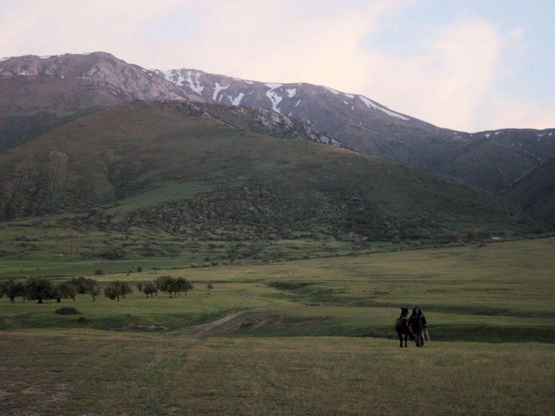 Kasachstan Bild des Tages Reiter Pferd Tal
