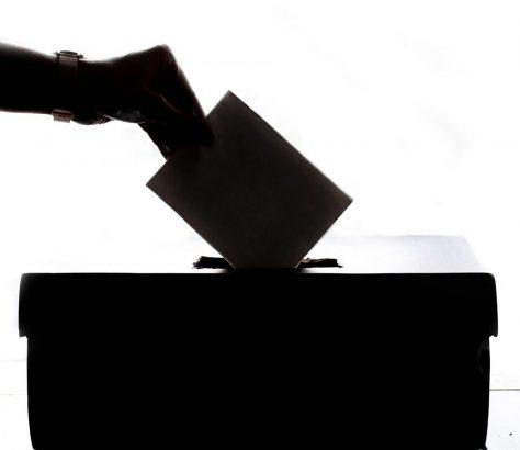 Ein Wahlzettel wird in eine Wahlurne geworfen