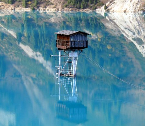 Großer Almaty-See Kasachstan Wachturm