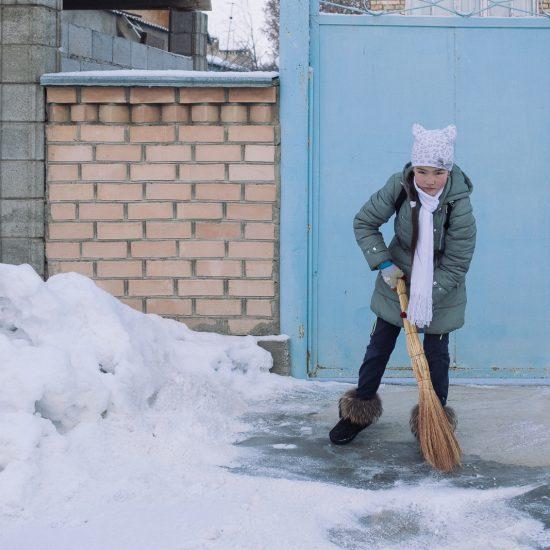 Schnee Toktogul Kirgistan Portrait