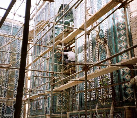 Bauarbeiten Samarkand Restaurierung Usbekistan
