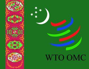 turkmenische Flagge mit Symbol der WTO