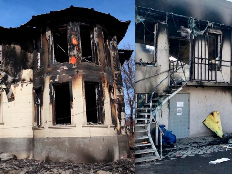 ausgebrannte Häuser in Masanchi