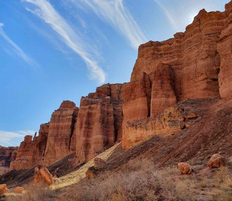 Scharyn-Canyon Kasachstan Wolken Felsen