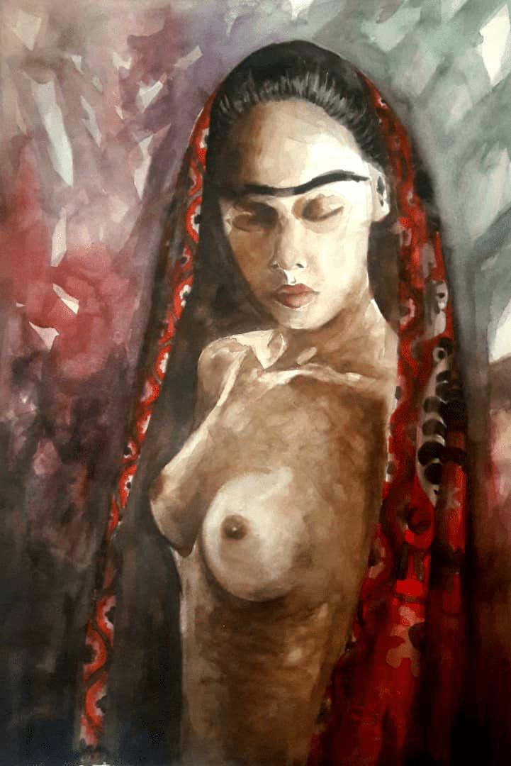 Bild einer halbnackten jungen Frau