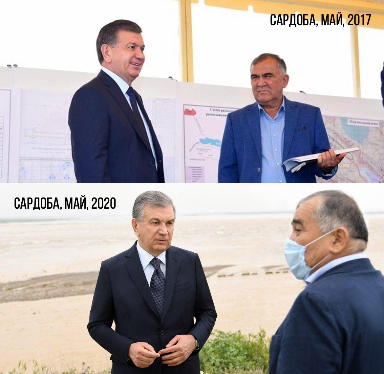 Abdugani Sanguinov, Direktor von UzbekHydroEnergo, mit Präsident Mirziyoyev bei der Einweihung des Dammes und nach seinem Bruch