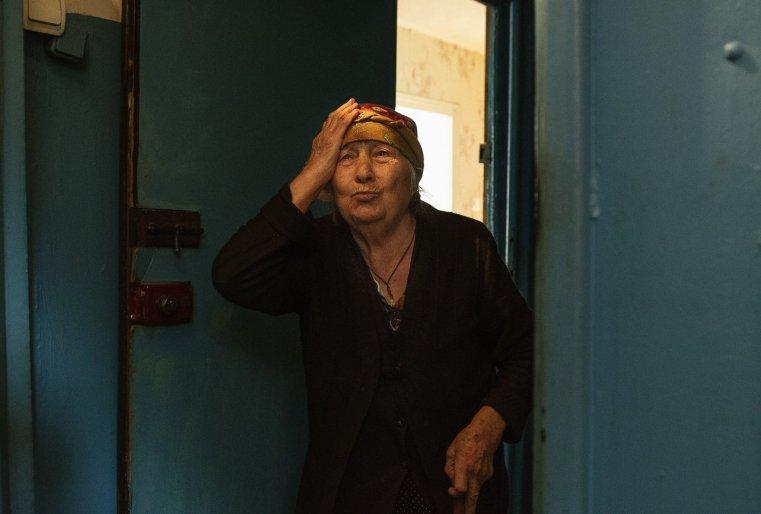 Temirtaou Kazakhstan retraitée immeuble froid