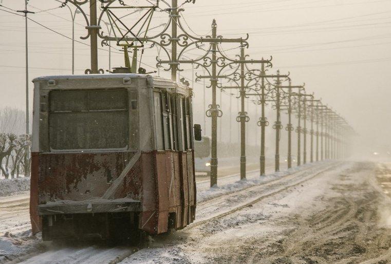 Temirtaou Kazakhstan Tram Neige froid