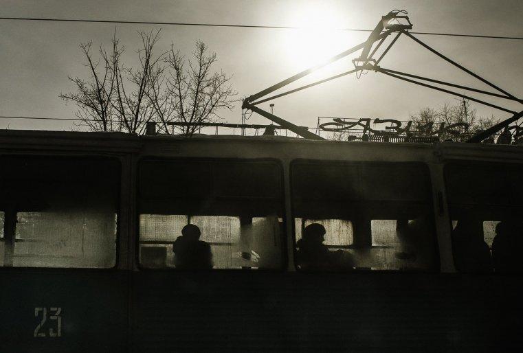 Temirtaou Kazakhstan Tram soleil froid hiver