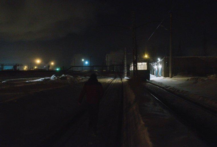 Temirtaou Kazakhstan Tram nuit froid neige