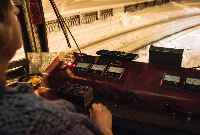 Temirtaou Kazakhstan Tram Conductrice Neige