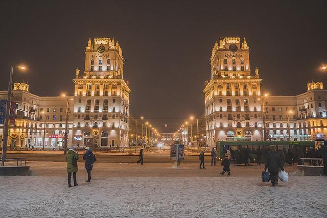 Une place centrale de Minsk, la capitale biélorusse.