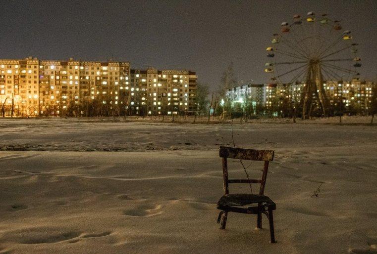 Ekibastouz Kazakhstan Chaise Neige Immeubles