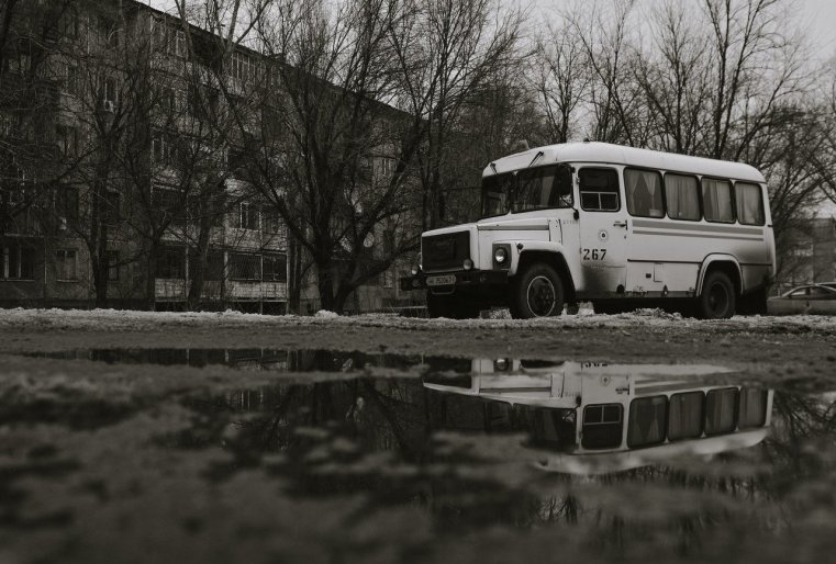 Ekibastouz Kazakhstan Bus Marchroutka Immeuble Neige