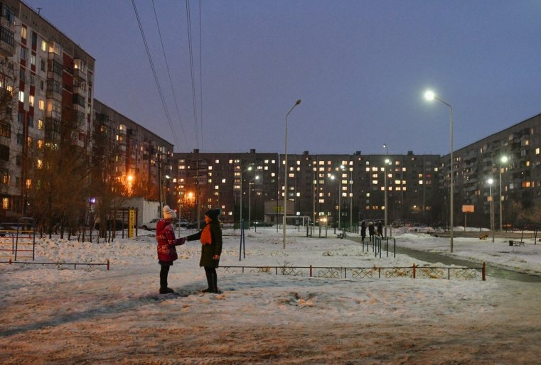 Ekibastouz Kazakhstan Immeubles Habitants Neige Nuit
