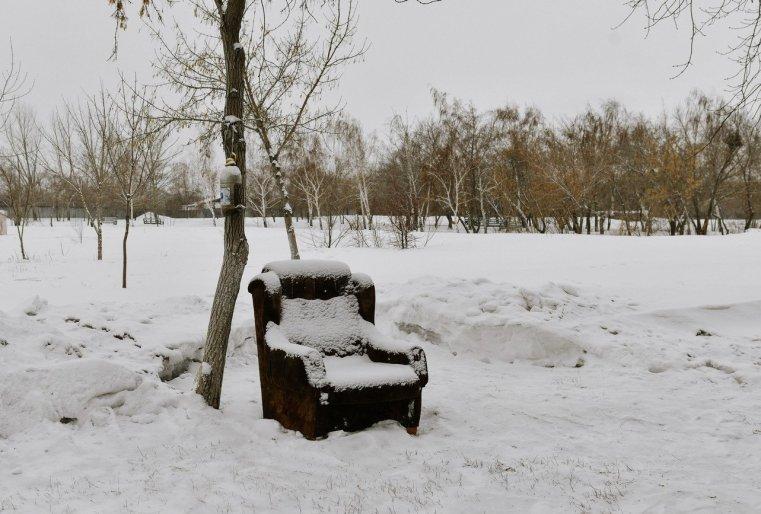 Ekibastouz Kazakhstan Parc Fauteuil Vide Neige