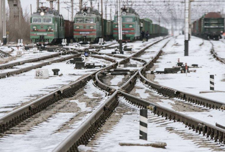 Ekibastouz Kazakhstan Train Voie Ferrée