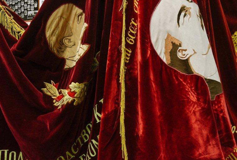 Stepnogorsk Kazakhstan Drapeaux Lenine