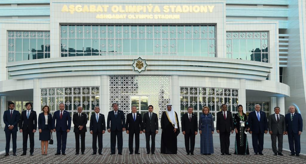 Cérémonie d'ouverture Jeux asiatiques en salle Achgabat Turkménistan Gourbangouly Berdimouhamedov Chavkat Mirzioïev Noursoultan Nazarbaïev Emomalii Rahmon