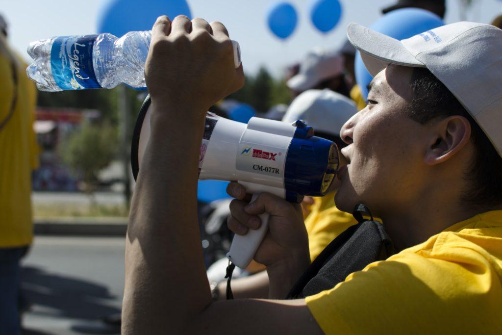 Manifestant Bichkek Handicapés Kirghizstan
