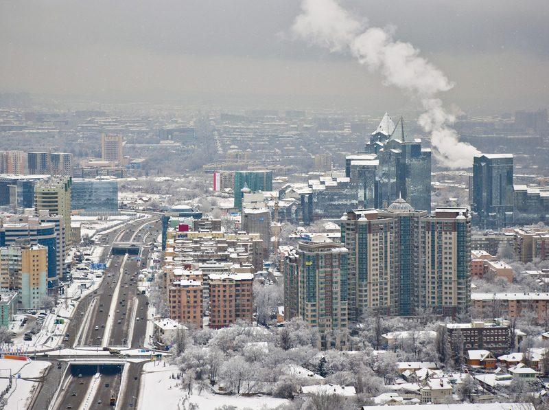 Almaty Kazakhstan Immeuble Ville Neige Hiver