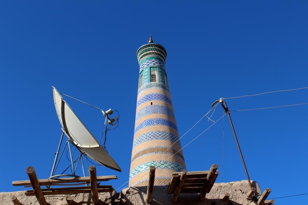 Minaret Antenne Khiva Ouzbékistan