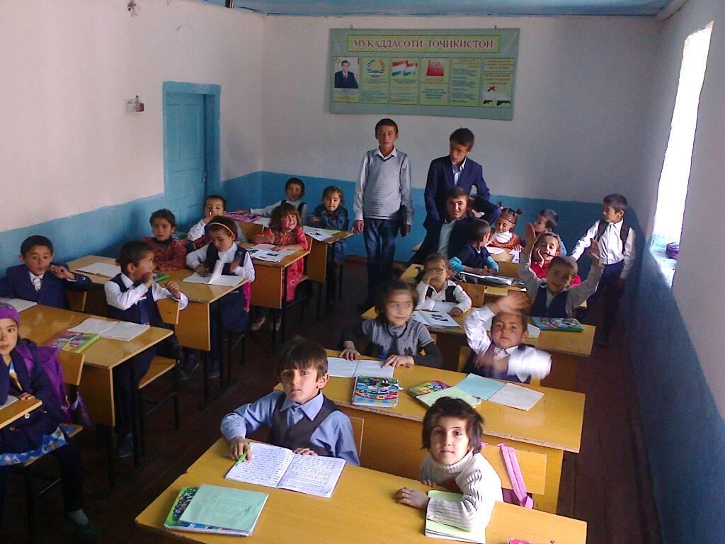 Voru Tadjikistan Village Montagne Pauvreté Ecole Enfants