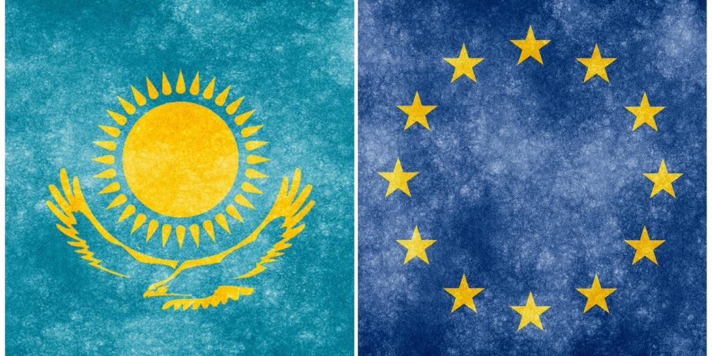 Kazakhstan UE Union européenne Drapeaux