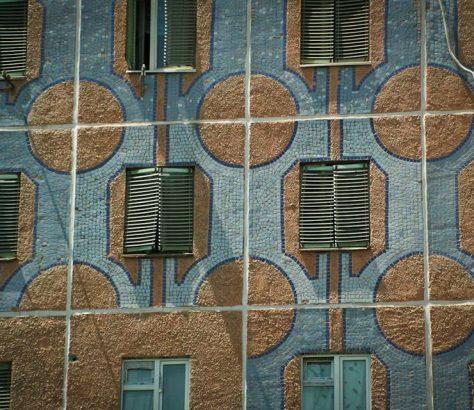mosaïque, Tachkent, immeuble, façade