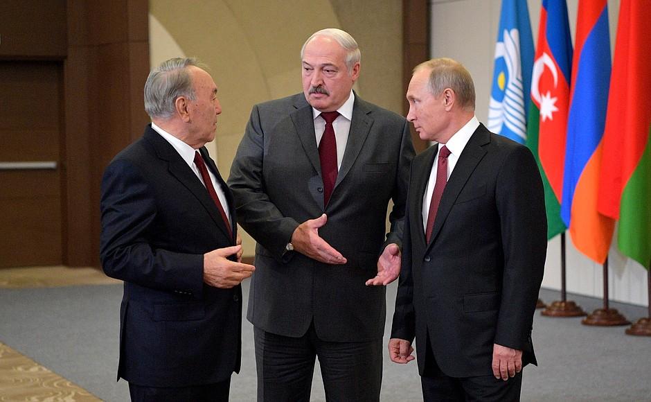 Gauche Droite Présidents Norusoultan Nazarbaïev Alexandre Loukachenko Vladimir Poutine