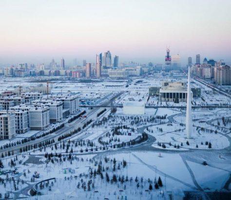 Astana Kazakhstan Capitale Neige Bâtiments