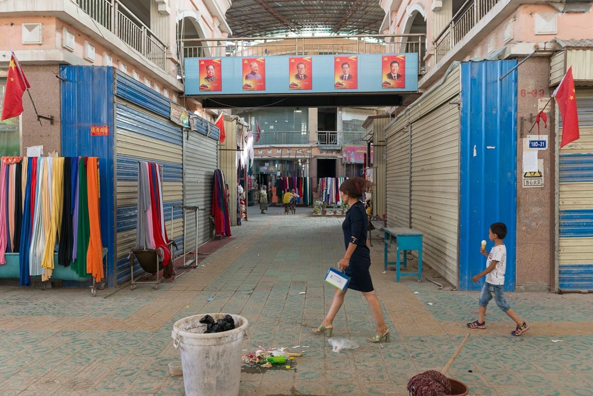 Xinjiang Ouïgours Drapeaux Chinois