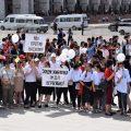 Manifestation Bichkek Kirghizstan Mariage par enlèvement Ala Kachuu