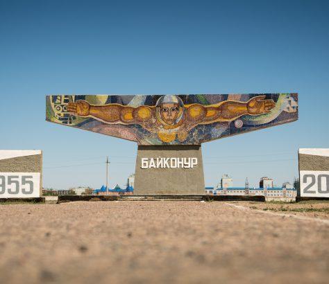 Muraille cosmonaute Baïkonour base mosaïque