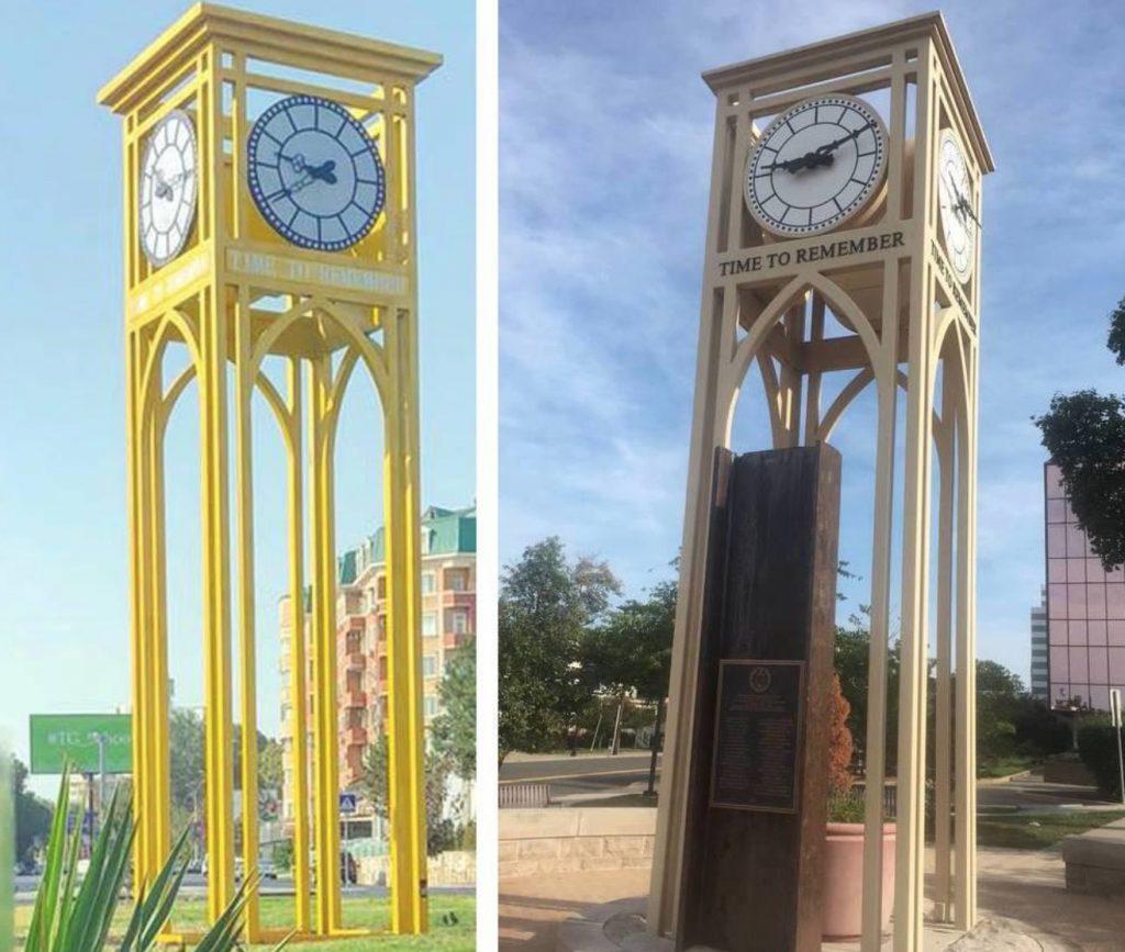 A gauche l'horloge installée puis très vite démontée à Tachkent et à droite l'original, qui est en fait un mémorial aux victimes du 11 septembre 2001 dans une ville américaine