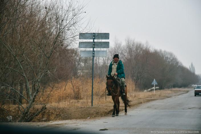 Jarkent Kazakhstan Ville Frontière Chine Cheval Route