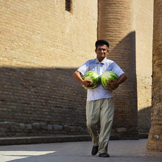 Pastèques Khiva Ouzbékistan Portrait