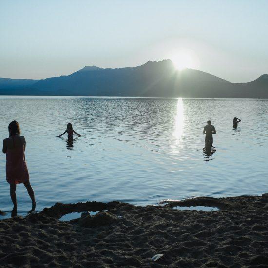Lac Borovoe Kazakhstan baignade soucher de soleil