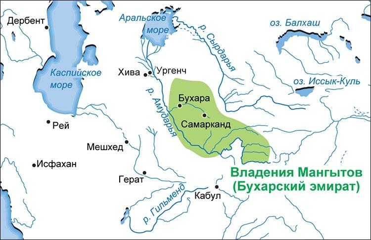 Boukhara Emirat Khanat Manghite Territoire Carte