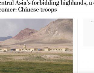 Le header de l'article du Washington Post avec la photo de la base militaire chinoise au Tadjikistan située dans la région du GBAO, près de la frontière Afghane.