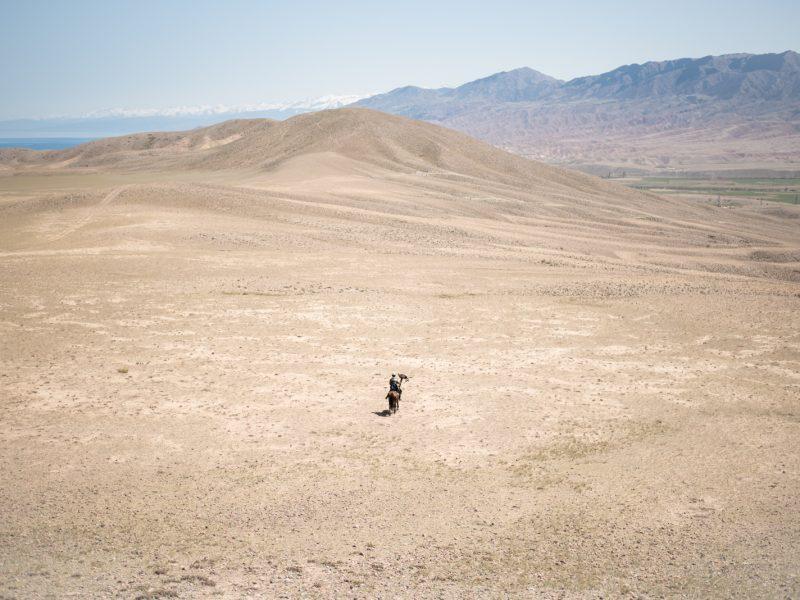Dès le mois d'avril, les abords du lac Issyk Kul prennent des allures désertiques.