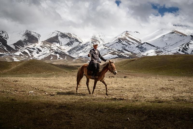Homme sur un cheval au Kirghizstan