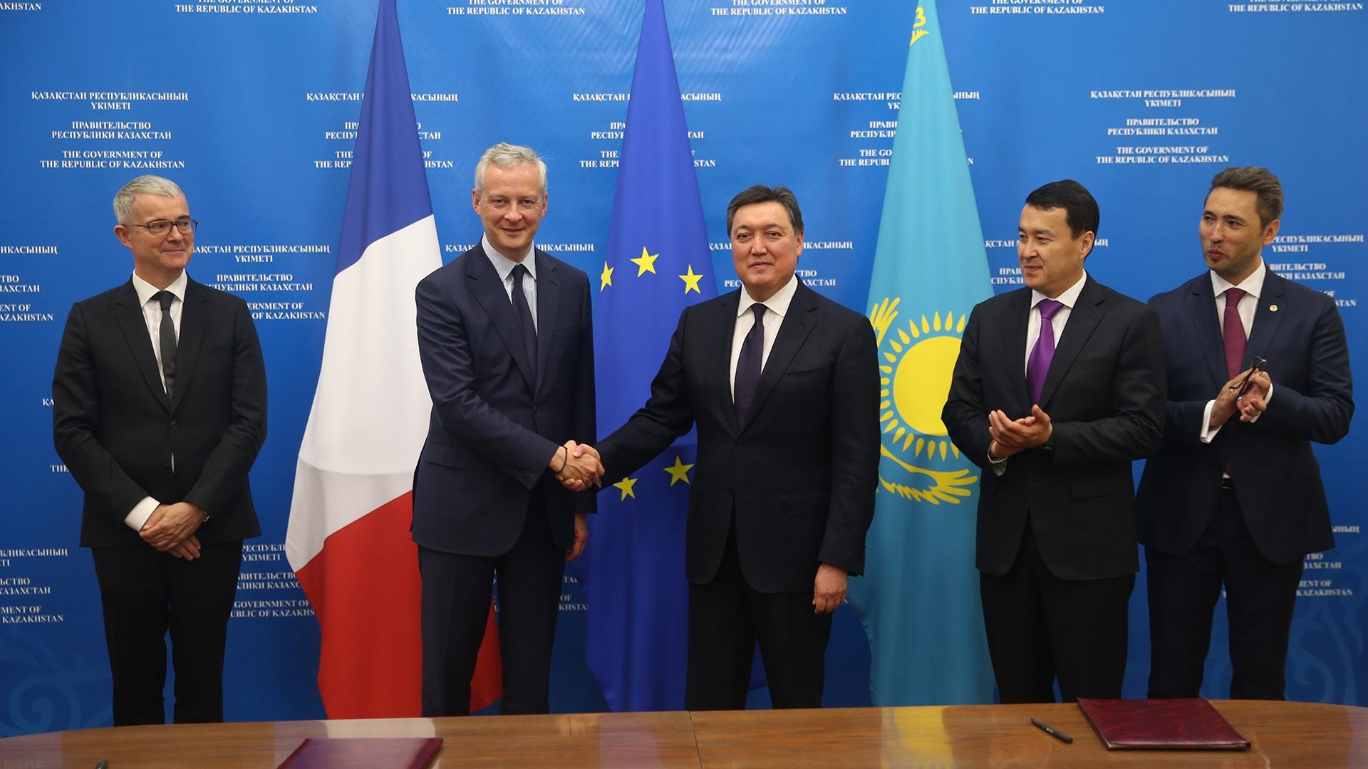 Bruno Le Maire Ministre France Economie Finances Rencontre Askar Mamine Premier Ministre Kazakhstan