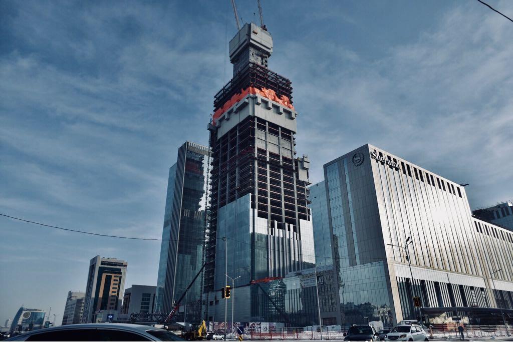 Abu Dhabi Plaza Noursoultan Astana Capitale Kazakhstan 2018 Chantier Construction